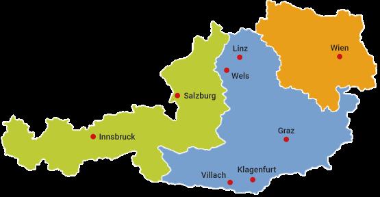Österreichkarte der Außendienst-Gebiete von Wehrfritz