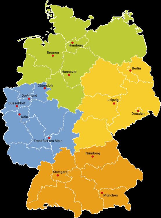 Deutschlandkarte der Außendienst-Gebiete von Wehrfritz